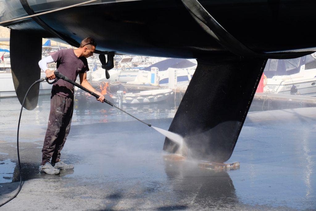 High pressure washing to wipe away the sealife