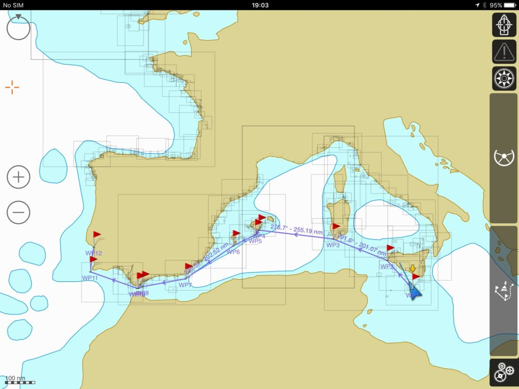 iSailor screenshot of the golden route from Malta to Portugal